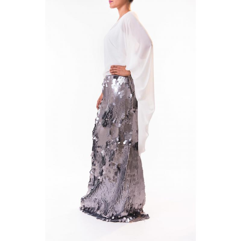 Sequin Skirted Dress In Silver