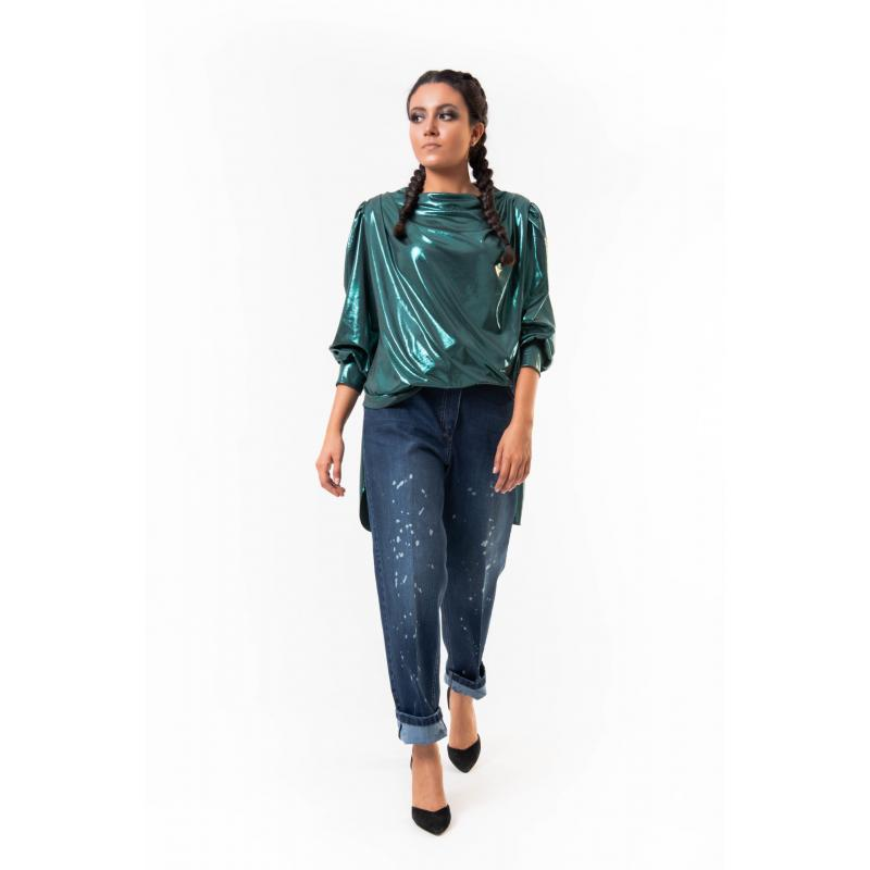 Disco Front draped Top In Green