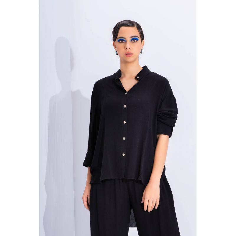 High Low Wrinkled Shirt In Black