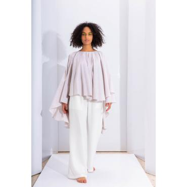 Palazzo Wrinkled Pants In Off White