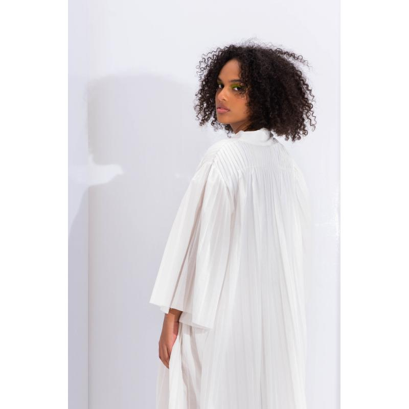 Pleated Maxi Cardigan In Off Whiter