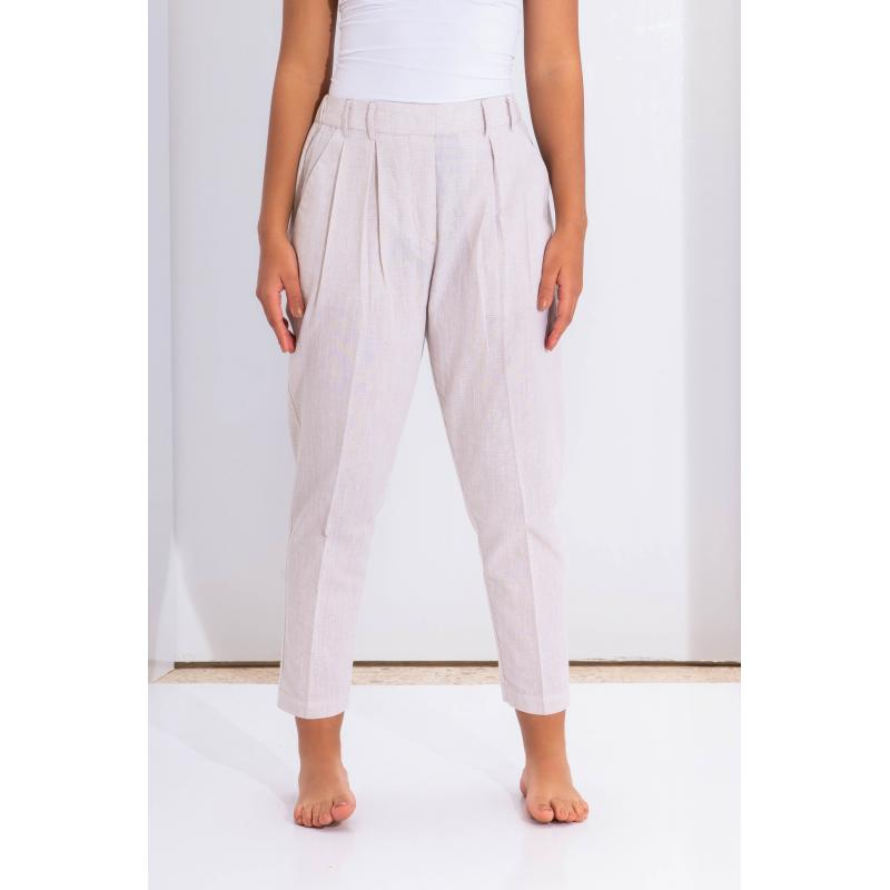 Classic Raw Pants In Beige