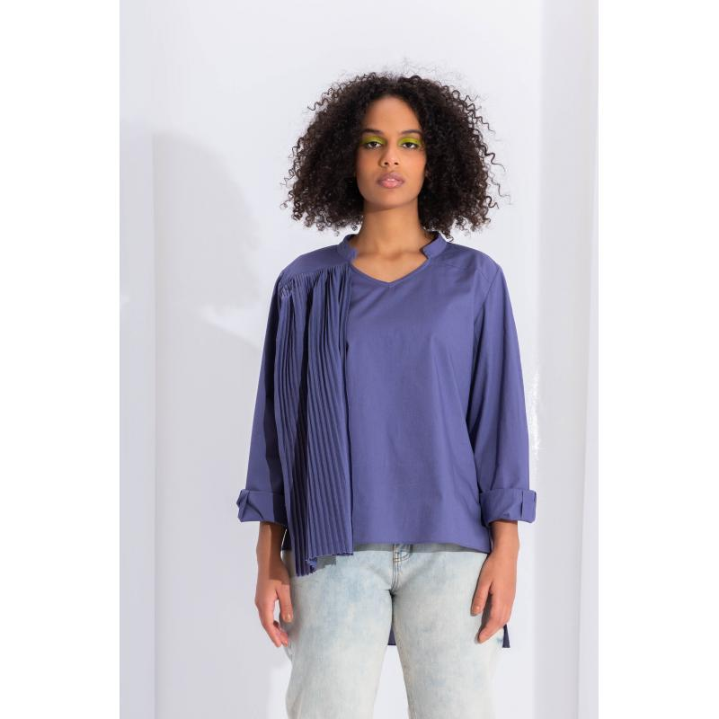 Pleated Side Top In Blue