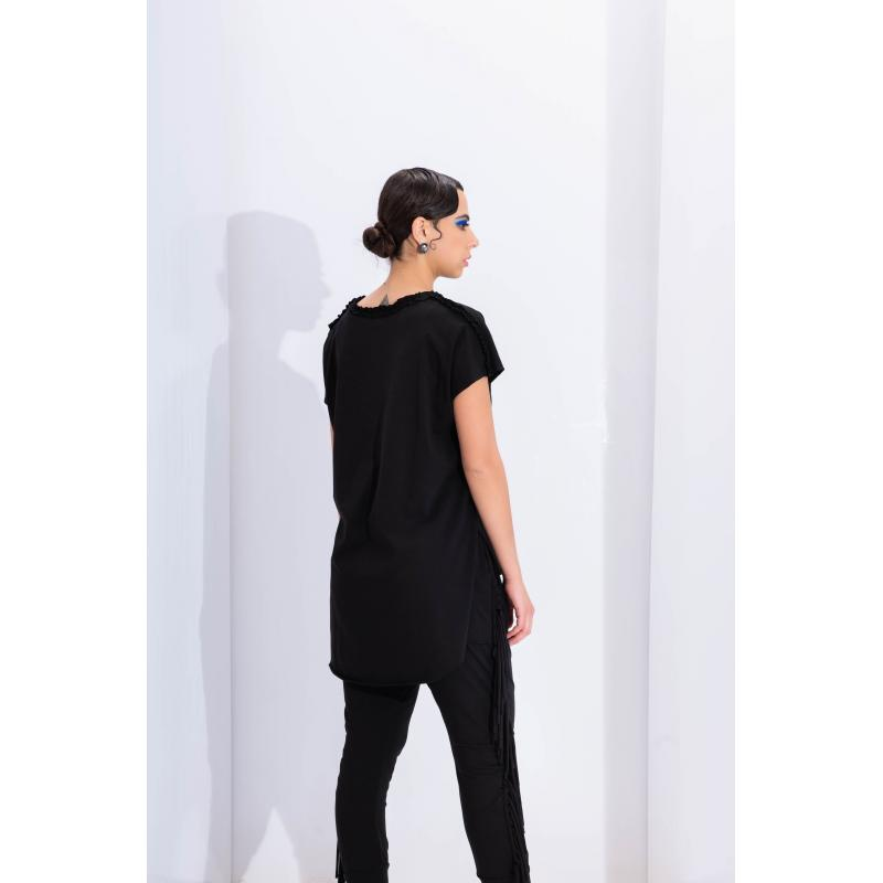 Short Sleeves High Low T-Shirt In Black