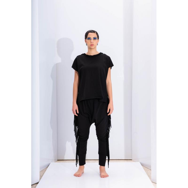 Fringes Low Crotch Jogger In Black