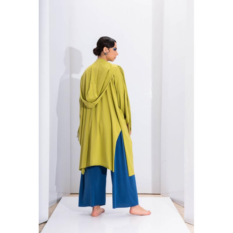 Oversize Fringy Cardigan In Apple Green