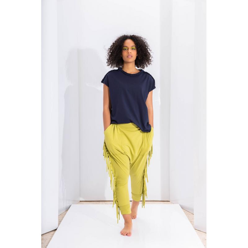 Fringes Low Crotch Jogger In Apple Green