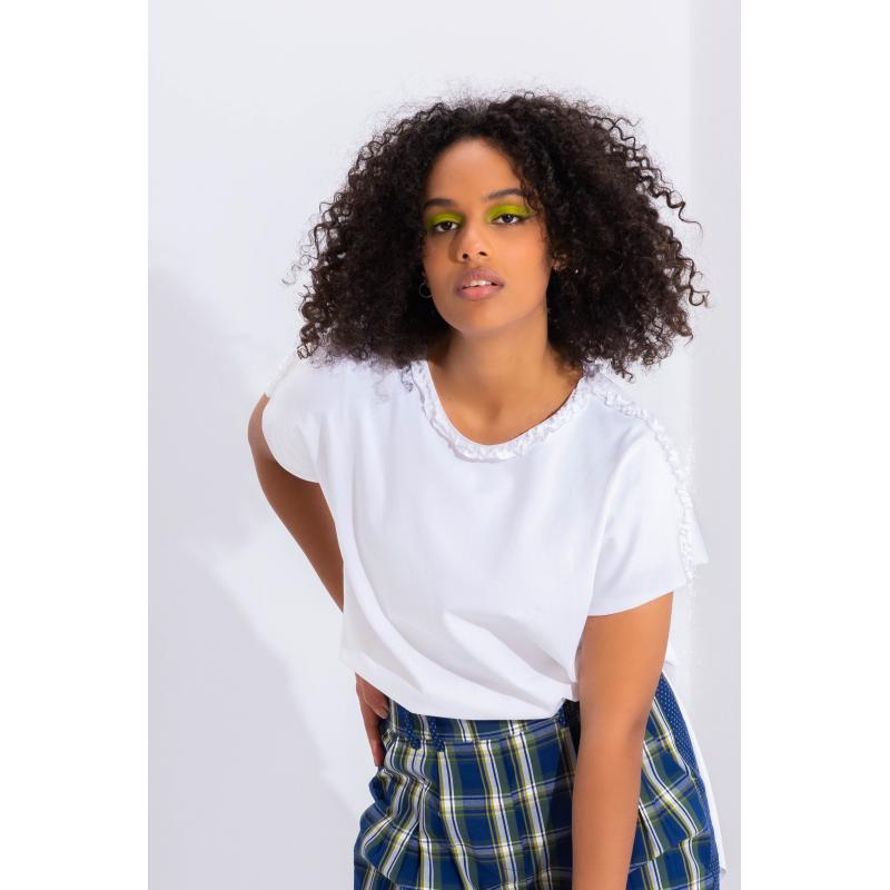 Short Sleeves High Low T-Shirt In White
