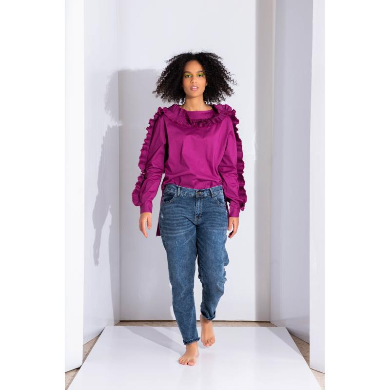 PLEATED SLEEVES TOP IN Fuchsia