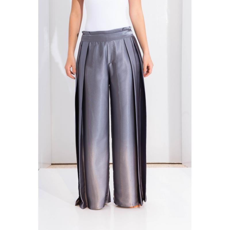 Satin Extra Wide Leg In Grey