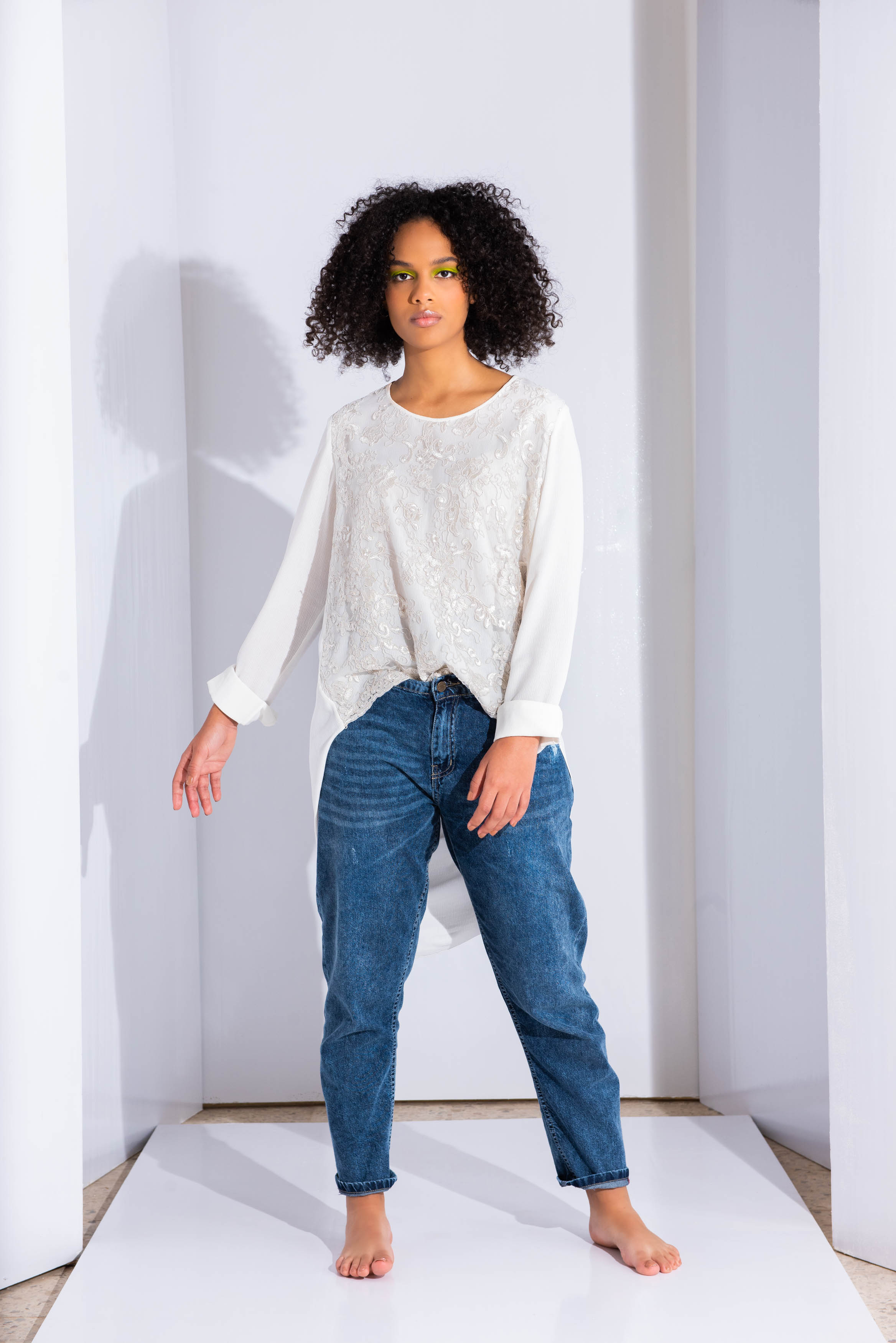 Back Draped Front Guipure Top